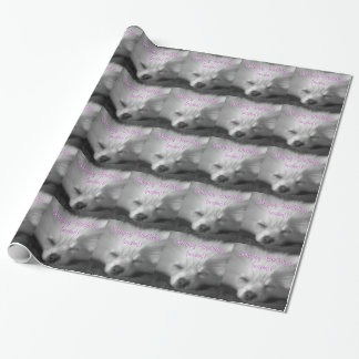 Happy Birthday, Pomeranian Puppy Snoozing Wrapping Paper
