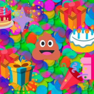 Happy Birthday Poop Emoji Round Clock