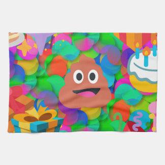 happy birthday poop emoji tea towel