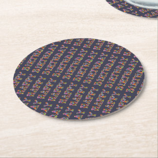 Happy Birthday Presents Funny Cute Typography Blue Round Paper Coaster