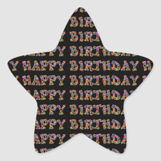 Happy Birthday Presents Funny Cute Typography Star Sticker