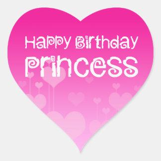 Happy Birthday Princess Heart Sticker