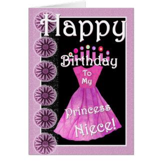 Happy Birthday Princess Niece Pink Dress & Candles Card