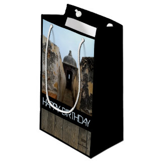 Happy Birthday, Puerto Rico Grey Small Gift Bag