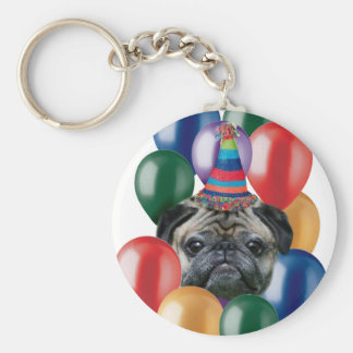Happy birthday Pug dog Basic Round Button Key Ring