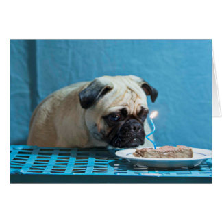 Happy Birthday Pug With Steak Candle - Card