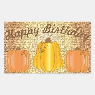 Happy Birthday Pumpkin Rectangular Sticker