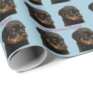 Happy Birthday, Puppy, Rottweiler, Custom Wrapping Paper