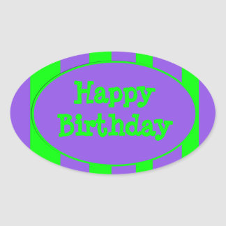 Happy Birthday purple green stripes Oval Stickers
