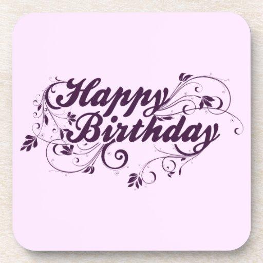 Happy Birthday Purple Swirls Coasters