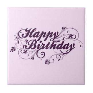 Happy Birthday Purple Swirls Small Square Tile