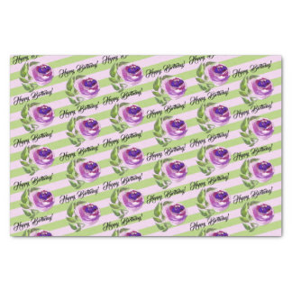 Happy Birthday   Purple Watercolor Rose and Leaves Tissue Paper