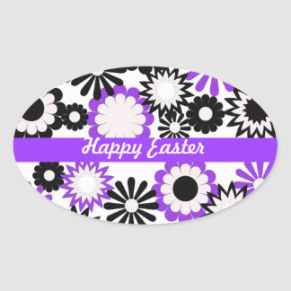 Happy Birthday, purple, white, and black flowers Oval Sticker