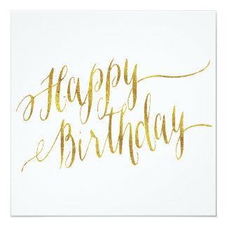 Happy Birthday Quote Gold Faux Foil Quotes 13 Cm X 13 Cm Square Invitation Card
