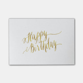 Happy Birthday Quote Gold Faux Foil Quotes Post-it Notes