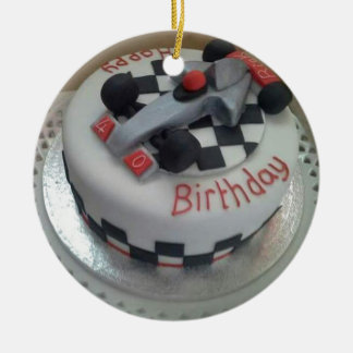 happy birthday racing car ceramic ornament