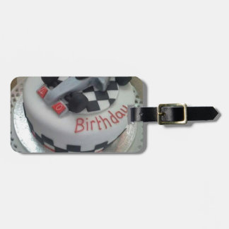 happy birthday racing car luggage tag