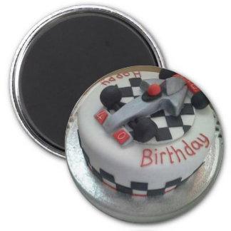 happy birthday racing car magnet