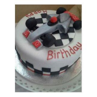 happy birthday racing car postcard