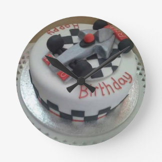 happy birthday racing car round clock
