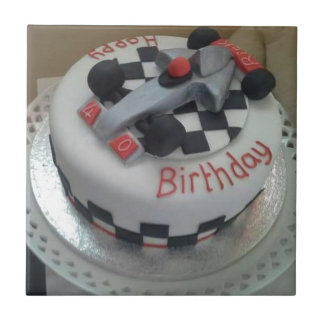 happy birthday racing car small square tile