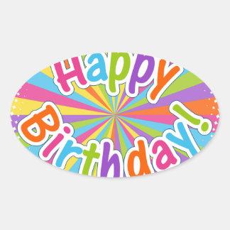 Happy Birthday Rainbow Text Oval Sticker