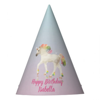 Happy Birthday Rainbow Unicorn Name - Party Hat