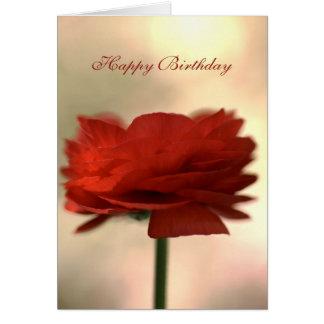 Happy Birthday - Ranunculus Flower Greeting Card