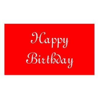 Happy Birthday. Red and White. Custom Pack Of Standard Business Cards
