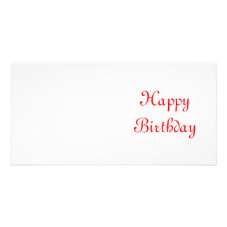 Happy Birthday. Red and White. Custom Personalized Photo Card