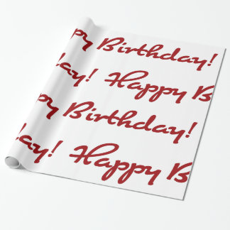 Happy Birthday! Red Casual Script Wrapping Paper