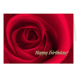 Happy Birthday Red Rose Design Greeting Cards