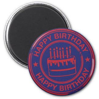 Happy Birthday -red rubber stamp effect- 6 Cm Round Magnet