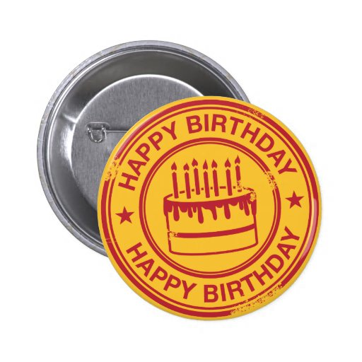 Happy Birthday -red rubber stamp effect- Buttons