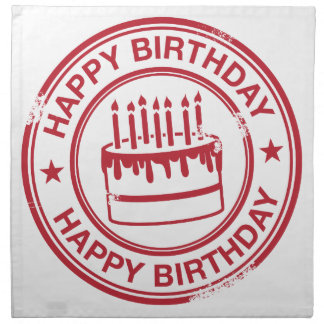Happy Birthday -red rubber stamp effect- Cloth Napkin