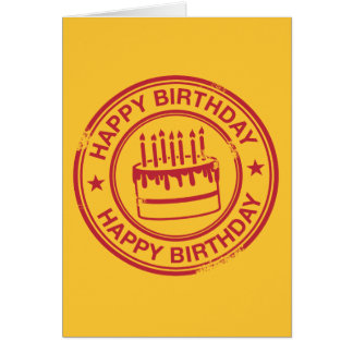 Happy Birthday -red rubber stamp effect- Greeting Card