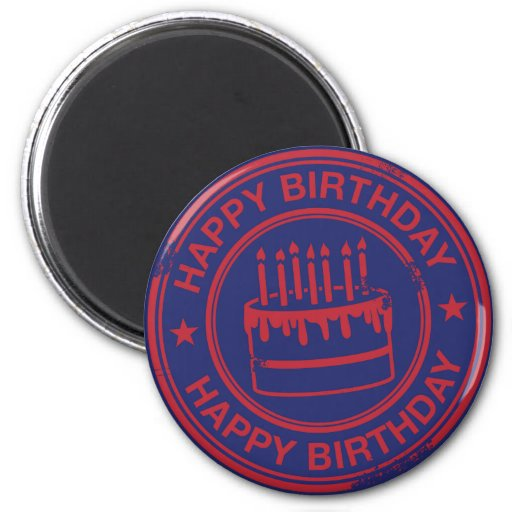 Happy Birthday -red rubber stamp effect- Refrigerator Magnets