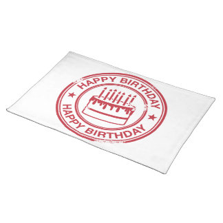Happy Birthday -red rubber stamp effect- Place Mat