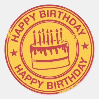 Happy Birthday -red rubber stamp effect- Round Sticker