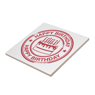 Happy Birthday -red rubber stamp effect- Small Square Tile
