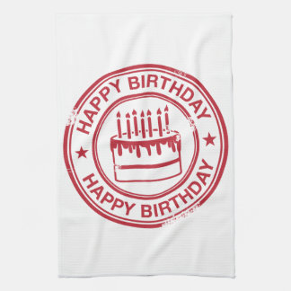 Happy Birthday -red rubber stamp effect- Hand Towel