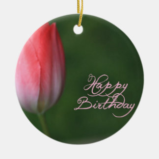 happy birthday red tulip flower ornament