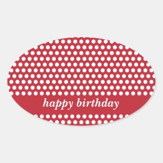 Happy birthday red & white polka dots stickers