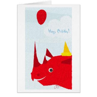 Happy Birthday Rhino (editable text) Greeting Card