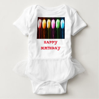HAPPY BIRTHDAY Rose Petal n Tulip Show Baby Bodysuit