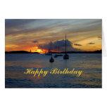 Happy Birthday Sailboats at Sunset Greeting Cards