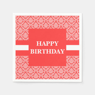 Happy Birthday Salmon Peach and White Damask Paper Napkins