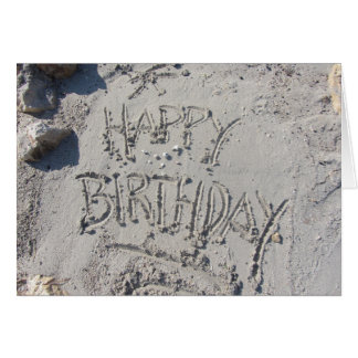 Happy Birthday Sand Writing Card