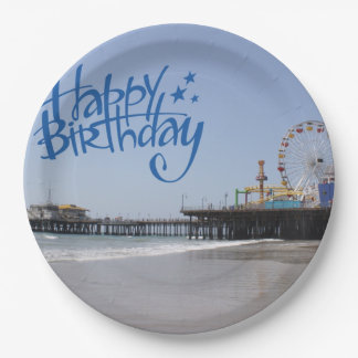 Happy Birthday Santa Monica Pier Paper Plate