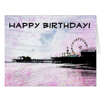 Happy Birthday Santa Monica Pier Pink Grunge Card
